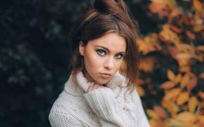 настроение, свитер, взгляд, портрет, лицо, осень