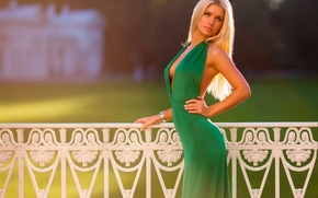 blonde, model, pose, figure, dress, view, style