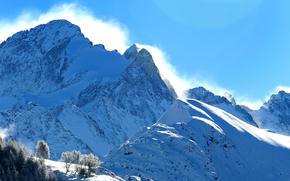 山, 雪, 冬天, 树, 景观