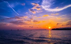 tramonto, mare, barche a vela, paesaggio