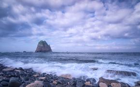 берег, камни, море, скала, закат, пейзаж