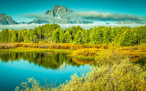 lake, Mountains, trees, autumn, landscape