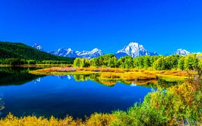 lago, Montagne, alberi, autunno, paesaggio
