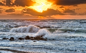 sunset, sea, waves, landscape
