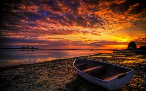 лодка, пейзаж, берег, закат
