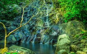 фотокартина, печать на холсте на заказ Украина ArtHolst скалы, камни, водопад, водоём, деревья, природа