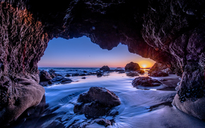 sunset, sea, Rocks, Malibu, arch, landscape