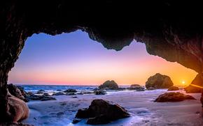 Malibu, tramonto, tramonto, mare, Rocce, arco, paesaggio