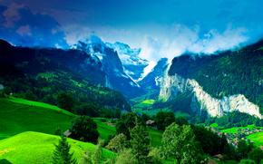 山, 丘陵, 树, 家, 意大利, 景观