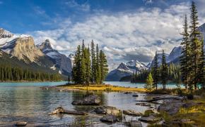 Maligne Lake, Parco nazionale Jasper, lago, alberi, paesaggio