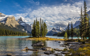 lake, trees, Jasper National Park, landscape, Maligne Lake
