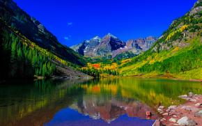 фотокартина, печать на холсте на заказ Украина ArtHolst Maroon Bells, Colorado.озеро, горы, деревья, осень, пейзаж