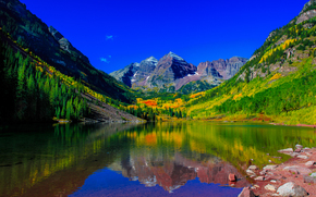 Mountains, trees, Colorado.ozero, autumn, Maroon Bells, landscape