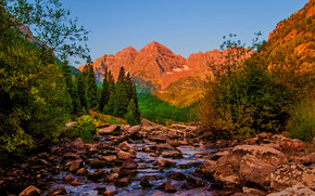 trees, stones, Mountains, landscape, river, Colorado