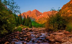 río, Montañas, árboles, piedras, paisaje, Colorado
