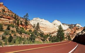 горы, пейзаж, дорога, Zion National Park