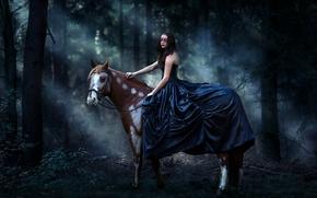фотокартина, печать на холсте на заказ Украина ArtHolst девушка, платье, маска, конь, лошадь, лес