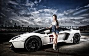Lamborghini, Aventador, Lamborghini Aventador, sports car, Lamborghini Aventador LP 700-4, суперкар, модель, азиатка
