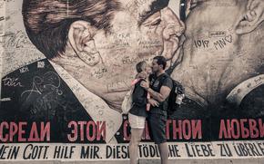 beijar, amor, mulher, Leonid Brezhnev, homem, Erich Honecker, parede, desenho, aut?grafos