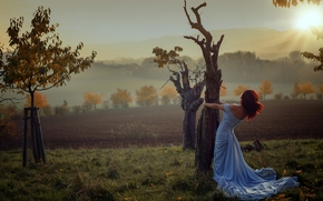 trees, autumn, dress, sunset, girl, mood