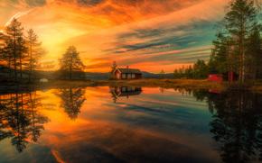 Ringerike, Noruega, lago, reflex?o, casa, p?r do sol, ?rvores