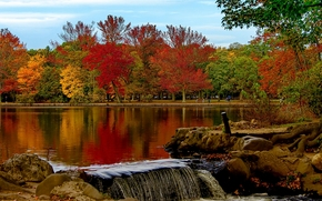 バビロン, ニューヨーク, ベルモント湖州立公園, ベルモント湖, NY, 公園, 秋, 湖, 木