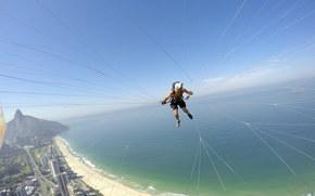 pilot, camera, paraglider, helmet, paragliding, thread, beach, sea, island, HORIZON, sky, Brazil, Rio de Janeiro, extreme sport