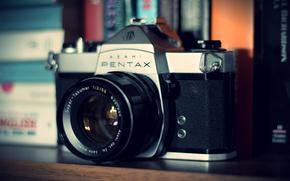 câmera, pentax, lente, velho