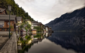 Hallstatt, Austria, Lake Hallstatt, Alps, Hallstatt, Austria, Lake Hallstatt, Alps, lake, Mountains, reflection, embankment, lantern, home