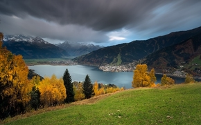 Lake Zell, Zell am See, Austria, Alps, Lake Zeller See, Zell am See, Austria, Alps, lake, Mountains, autumn, trees, panorama