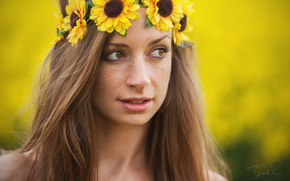 Nicole Pogmore, girl, freckled, freckles, face, view, wreath, Flowers, Sunflowers, portrait, mood