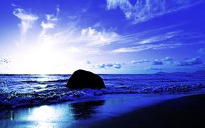 Seychelles, mare, onde, tramonto, puntellare, paesaggio