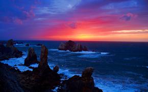 日落, 海, 岩石, 岸, 景观