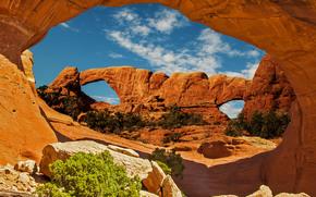 Arches National Park, скалы, арки, пейзаж