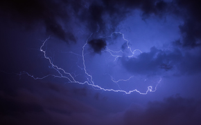 sky, night, clouds, lightning