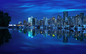 Vancouver, British Columbia, Canada, Burrard Inlet, Coal Harbour, Vancouver, British Columbia, Canada, Burrard Inlet, Coal Harbour, city ​​nightlife, port, bay, Yacht, reflection, building