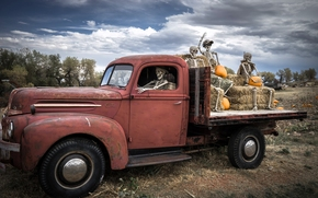 Ghost Riders, Halloween, ford, halloween, ford, camion, scheletri, Zucca