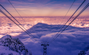 sunset, Mountains, tower, wire, sky, clouds, Bavaria, Germany, Hochfelln, Bergen, landscape