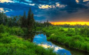 закат.река, деревья, Альберта, канада, пейзаж