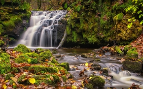 Gorpley Clough Falls, Todmorden, West Yorkshire, england, Todmorden, West Yorkshire, England, waterfall, cascade, moss, foliage, autumn