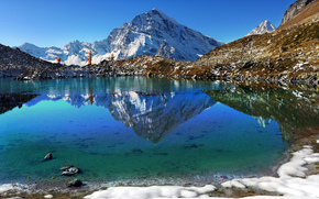 Alpe Veglia, Lago Bianco, Monte Leone, Alps, Trasquera, Piedmont, Italy, White Lake, Mountain Monte Leone, Alps, Traskuera, Piedmont, Italy, lake, Mountains, reflection