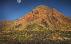 mountain, moon, Arizona, landscape