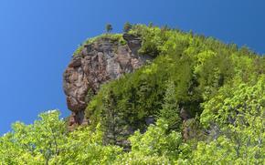 горы, скалы, деревья, пейзаж