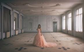 девушка, платье, зал, настроение