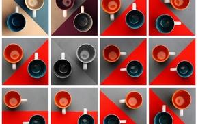 кружки, чашки, геометрия, текстура