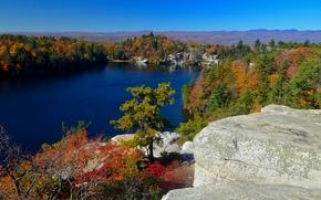Lake Minnewaska, Minnewaska State Park Preserve, New York, Lake Minnewaska Township, Park Preserve Minnewaska Township, NY, lake, forest, trees, rock, autumn, panorama