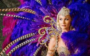 carnaval, chica, atuendo, ornamentación, plumaje