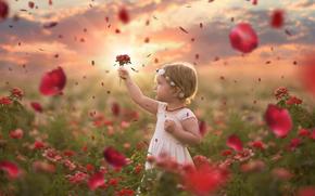 girl, Flowers, Roses, Petals, mood