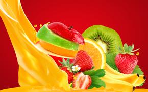 juice, fruit, BERRY, vitamins, strawberries, bananas, kiwi, Lemon