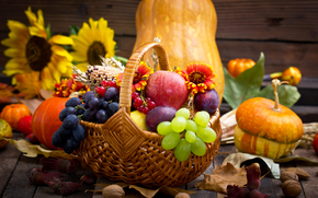 fruit, BERRY, vegetables, Flowers, basket, pumpkin, grapes, apple, nuts, Sunflowers, foliage, harvest, still life